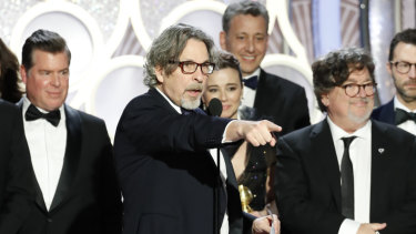 Peter Farrelly accepts the Golden Globe for Best Motion Picture, Comedy for Green Book.