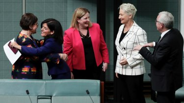 Former Liberal MP Julia Banks is embraced by the crossbench after her defection on Tuesday.