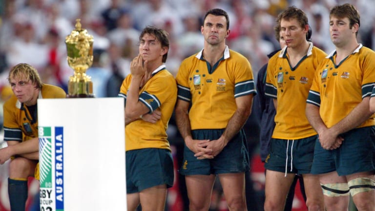Final indignity: World Cups are not all they are cracked up to be — as Phil Waugh, Mat Rogers, Joe Roff, Stephen Larkham and David Lyons found out in 2003.