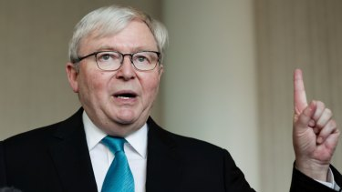 Former prime minister Kevin Rudd is warning of a trade war, a hot war, and a recession.
