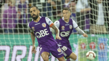 The indefatigable Diego Castro scores one of his two goals during Glory's epic semi-final win.