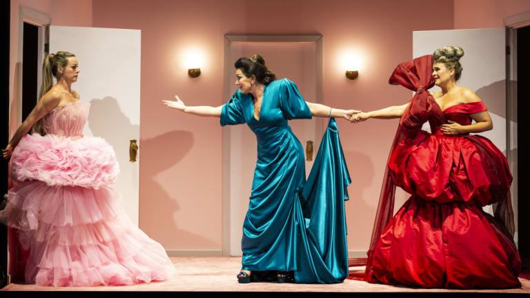 Dimity Shepherd, Antoinette Halloran, Ali McGregor perform in Victorian Opera's Lorelei at the Malthouse Theatre.
