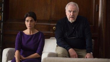 Hiam Abbas as Marcia and Brian Cox as Logan Roy in Succession.
