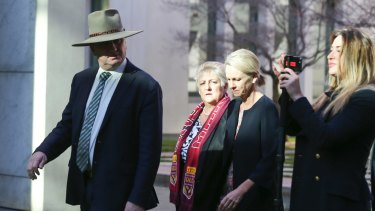 Barnaby Joyce with Vikki Campion, far right, at Parliament House in 2017.