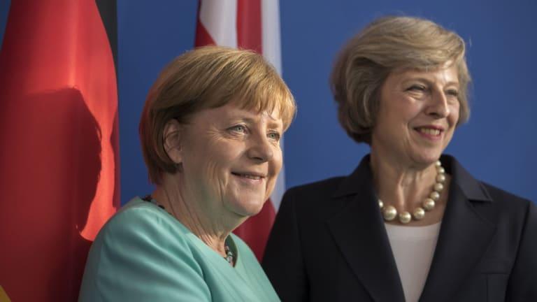 German Chancellor Angela Merkel and British Prime Minister Theresa May in 2016.