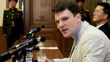 Otto Warmbier pictured last year in Pyongyang. His parents are trying to hold Kim Jong-un's regime legally accountable for his death.