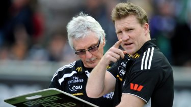 Tricky relationship: Mick Malthouse and Nathan Buckley in 2011.