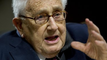 Henry Kissinger, former US secretary of state, speaks during a Senate Armed Services Committee hearing in Washington.