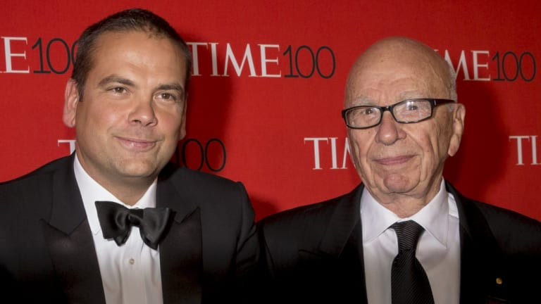 Lachlan Murdoch and his father, Rupert.