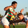 Cody Walker of the Rabbitohs runs at Matt Dufty of the Dragons during the Charity Shield & NRL Trial Match between the South Sydney Rabbitohs and the St George Illawarra Dragons at Glen Willow Regional Sports Stadium on February 27, 2021 in Mudgee.