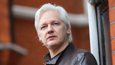 Julian Assange speaking from the balcony of the Ecuadorian embassy.