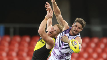 Jesse Hogan in action against the Tigers earlier this year.