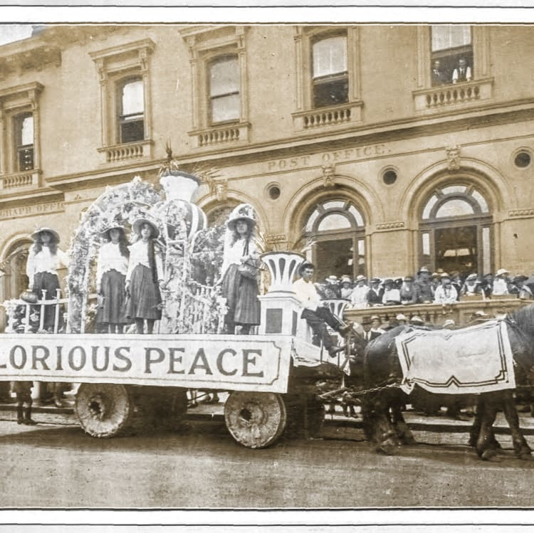 The Lucas Girls' parade to mark the end of WWI in 1918.