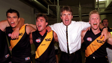 Heart on his sleeve: Frawley celebrates a Richmond win in 2000.