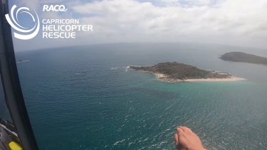 The RACQ Capricorn Helicopter Rescue searching off Great Keppel Island for the missing man on Tuesday morning.