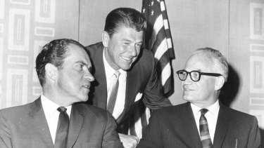 All waged their own war with the media: Ronald Reagan leans in to talk with Richard Nixon and Barry Goldwater (with glasses), the 1964 Republican presidential candidate.