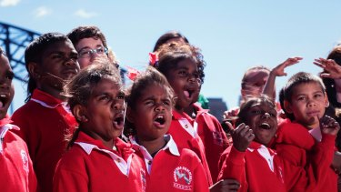Students from the remote community school of Yakanarra after the performance of the Yakanarra Song Book at the Sydney Opera House in 2017.