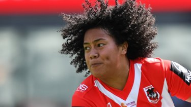 Teuila Fotu-Moala in action against the Broncos on Sunday.