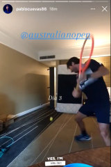 Pablo Cuevas practises his backhand in hotel quarantine ahead of the Australian Open.