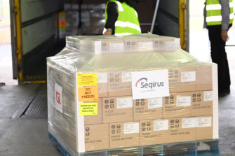The first batch of 830,000 Australian-made COVID vaccines left the CSL factory in Parkville, Melbourne, after being approved by the Therapeutic Goods Administration.