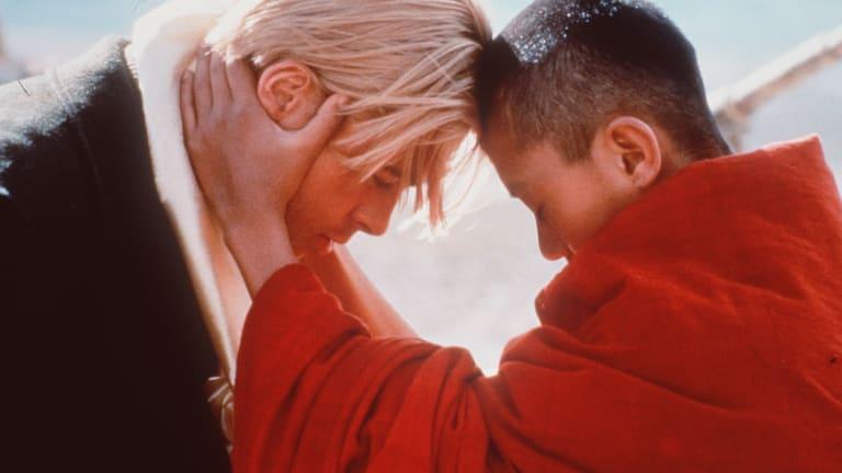 Brad Pitt with  Jamyang Jamtsho Wangchuk in 'Seven Years in Tibet', from 1997.