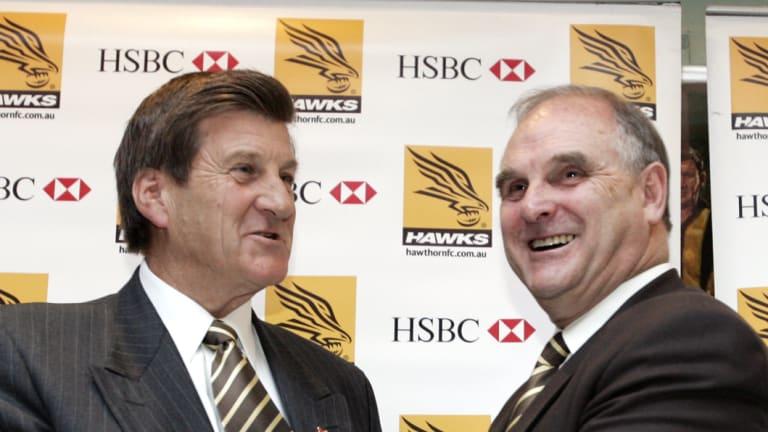 Ian Dicker (right) with successor Jeff Kennett.