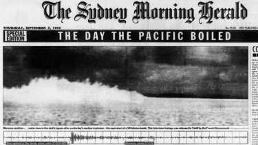 "Sydney Morning Herald, 7 September 1995, page 1 reporting on . ""THE DAY THE PACIFIC BOILED""."