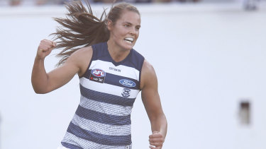 Madeleine Boyd celebrates the first Geelong goal.
