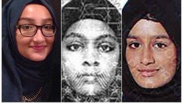 From left: Kadiza Sultana, Amira Abase and Shamima Begum left London for Syria in 2015.