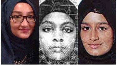 Shamima Begum (right), who fled with her two friends, is nine months pregnant and wants to come home, she told a newspaper that tracked her down.