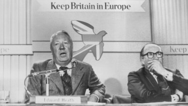 "Then opposition leader Ted Heath and Labour Home Secretary Roy Jenkins campaign to ""Keep Britain in Europe"" ahead of the 1975 referendum, in which two-thirds of voters opted to stay in the Common Market."