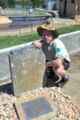 Tim at Henry Dunkley's grave in the Gunning Sewerage Works.