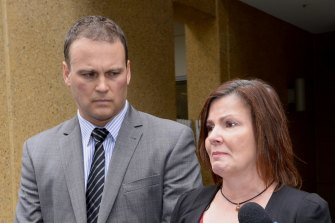 Jade Markiewicz and her lawyer outside the Coroners Court in 2016.
