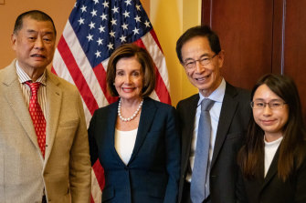 Jimmy Lai, left, with US Speaker Nancy Pelosi in Washington in October.