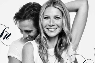 Gwyneth Paltrow and her husband, Brad Falchuk, on the cover of Goop magazine.