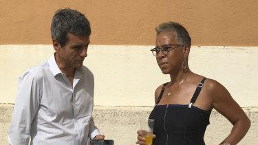 Ramos talks to the head of the US tennis Federation Katarina Adams.
