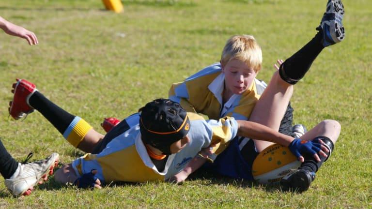 Schoolboy players at Waratah Oval in Gymea, Sydney.