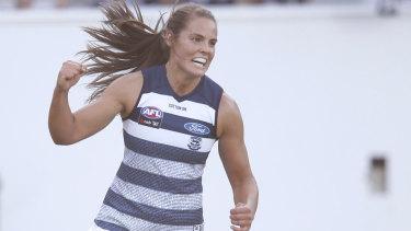 Madeleine Boyd celebrates the first Geelong goal.