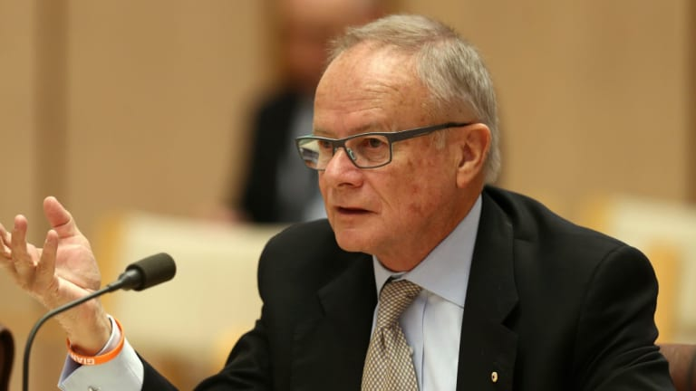 GWS chairman Tony Shepherd, pictured here at a Senate hearing in 2014, has been approached by some worried Business Council of Australia members and urged to consider a return to the organisation.