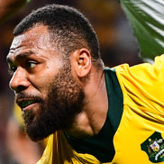 Emphatic: Samu Kerevi, easily one of Australia's best, crosses for the Wallabies at Sapporo Dome.