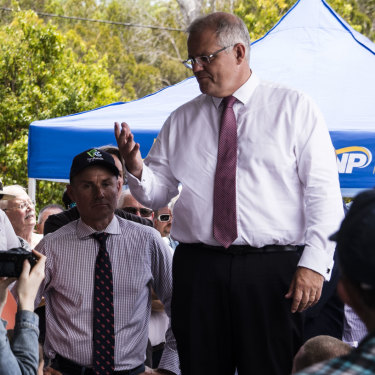 Scott Morrison speaks to voters during a week-long sweep of marginal seats in Brisbane.