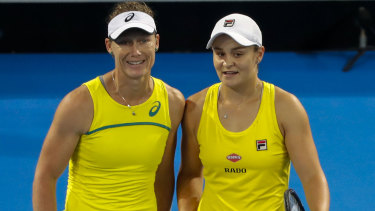 Australia's Sam Stosur and Ash Barty.