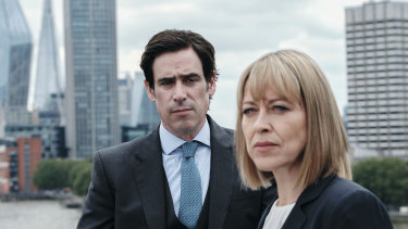 Nathan (Stephen Mangan) and Hannah (Nicola Walker) in <i>The Split</i>.
