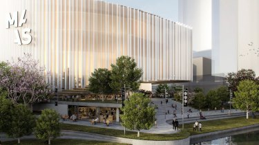 First conceptual drawing of the new Powerhouse Museum at Parramatta.