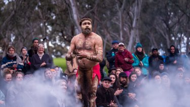 Djab Wurrung man DT Zellanach performing a ceremony in front of the Grandfather tree at Djab Wurrung Embassy camp.