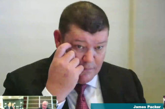 James Packer appearing before the NSW inquiry.
