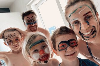 James Maloney and his family enjoy some face-painting while in lockdown in France.
