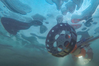 A prototype undersea rover called BRUIE being tested in Alaska.