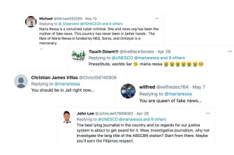 Some of the social-media messages attacking Ressa.