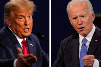 Donald Trump and Joe Biden during the final presidential debate.